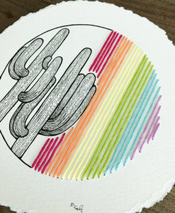NEW Original INK + THREAD | Saguaro Blooms