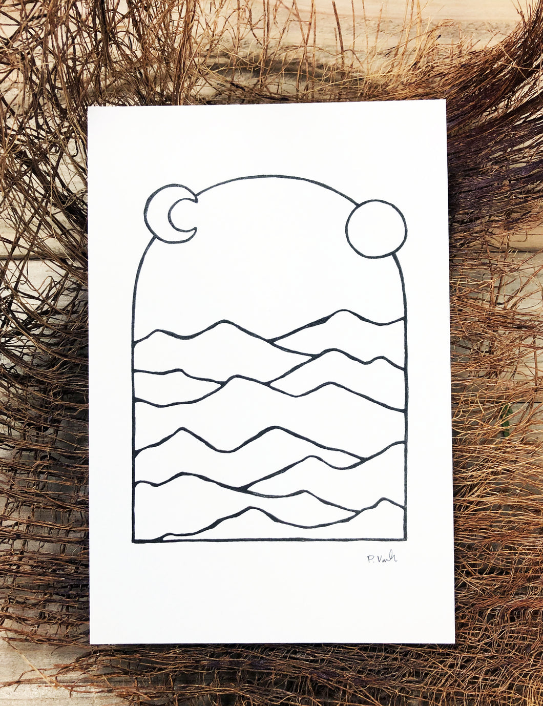 Original INK |  Mountains of the Desert 4x6