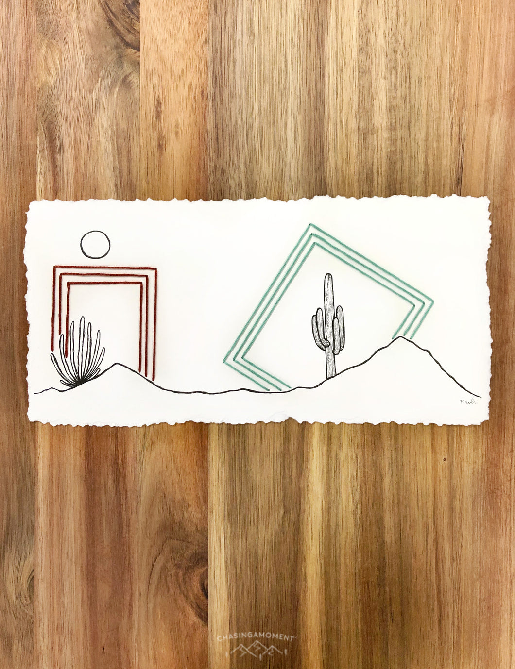 NEW Original INK + Thread |  Framed Desert #3