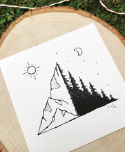 Load image into Gallery viewer, Where the Mountains Meets the Trees 4x4 Art Print
