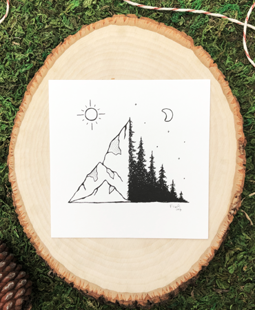 Where the Mountains Meets the Trees 4x4 Art Print