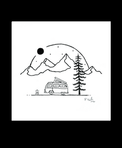 Between the Mountains 4x4 Art Print