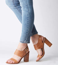 Load image into Gallery viewer, WALNUT HAVANA LEATHER BLOCK HEEL
