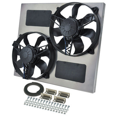 TWIN THERMO FANS IN SHROUD SUIT XA-B/ZF-G V8 SHORT RAD - 3750CFM DERALE
