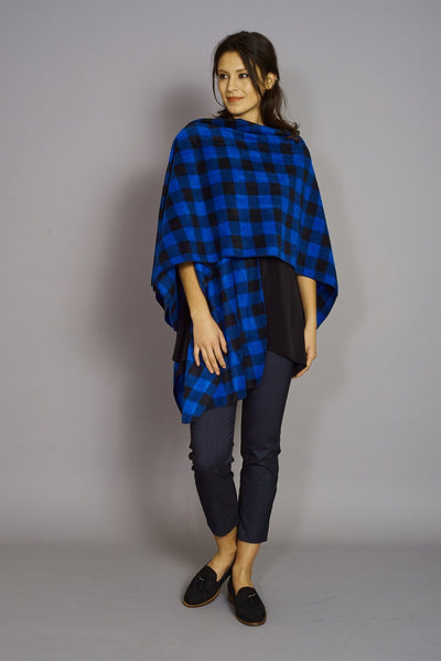 Royal Blue/Black Buffalo Print - Premium Mountain Fleece Cape - Code Vitesse