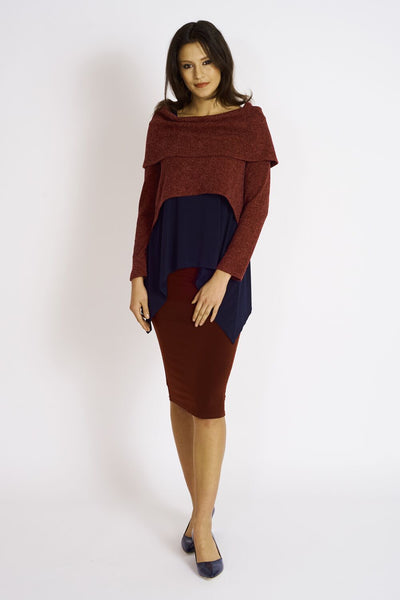 Ashmore Sweater Knit Crop Cowl Neck Topper - Code Vitesse