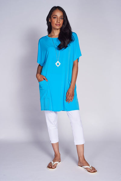 Pocket Shift Dress #PKT-5027 Aqua. Lepri Crops LEP-3018 White - Code Vitesse