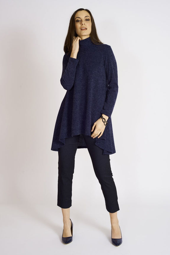 Ashmore Sweater Knit Mock Neck Flare Tunic #ASH…K-7001 Navy