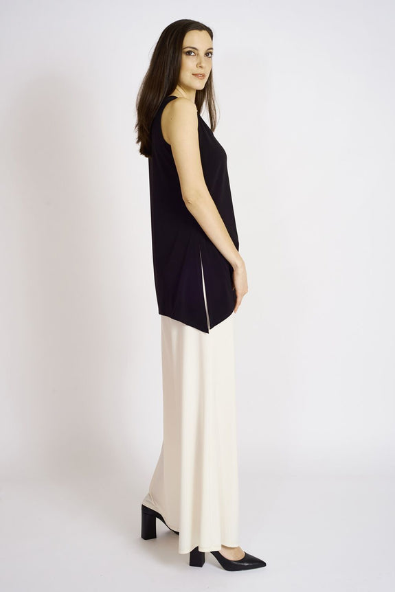 Slim Side Slit Tank (long) #SLS-1012 Black. Palazzo P…T-3000 Ivory