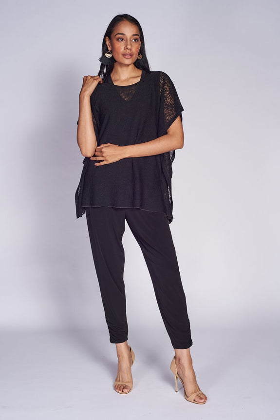 Riviera Top #TEX-RIV-1012 Textured Mesh Knit. Ruched Trouser #TRU-3021 Black.