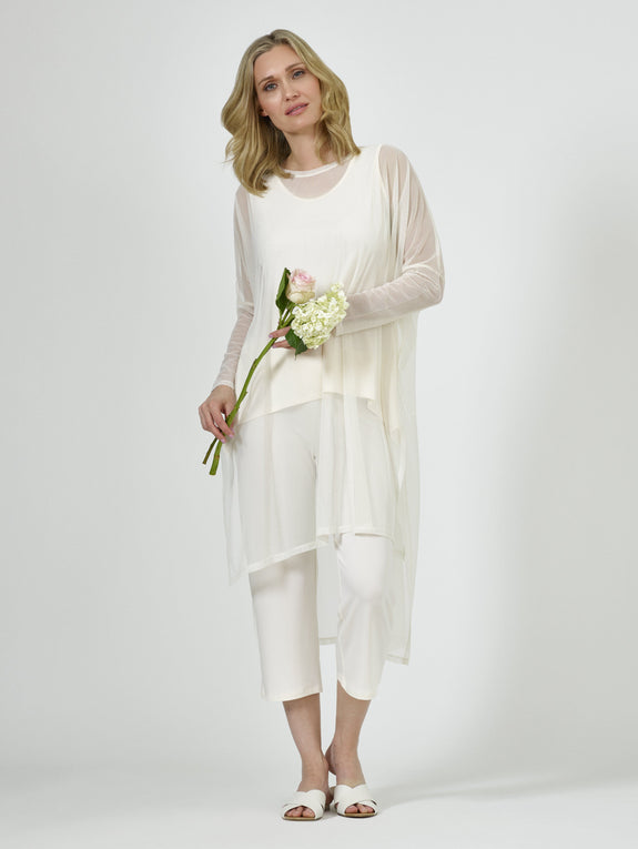 Poncho Dress (Mesh) Ivory