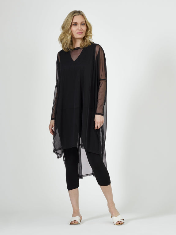Poncho Dress (Mesh) Black