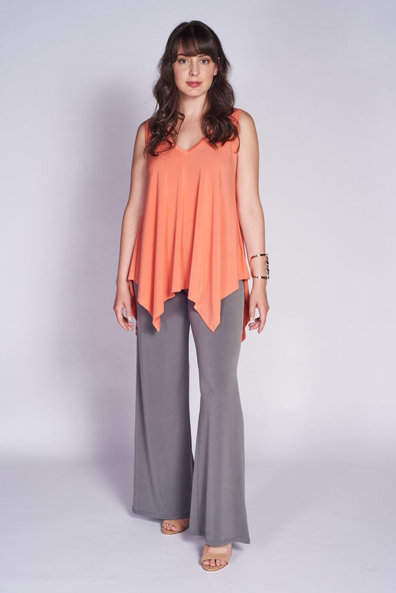 Ivy Tank #IVY-1076 Coral, Classic Pant #STR-3003 Grey