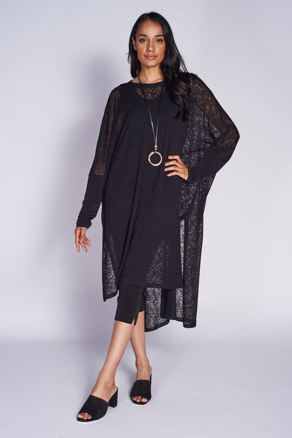 Poncho Dress Textured Mesh Knit - Code Vitesse