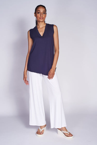 Angled Tank Top #TKA-1003 Bamboo Navy. Classic …mboo White