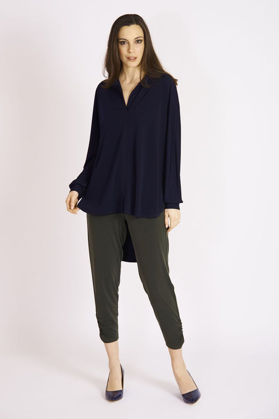 Zoe Collar Shirt #UCT-1069 Navy. Rouched Trouser …U-5021 Olive