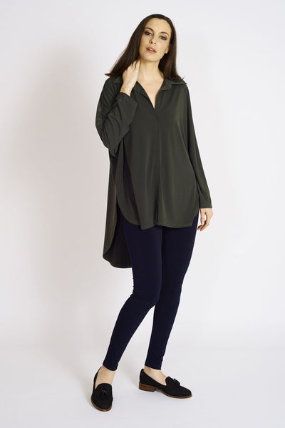 Zoe Collar Shirt #UCT-1069 Olive. Long Legging #TT-3002 Navy