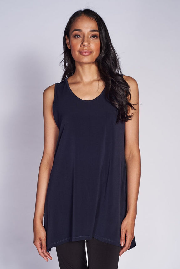 Slim Side Slit Tank (long) #SLS-1012 Black