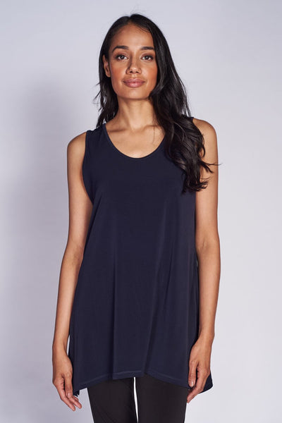 Slim Side Slit Tank (long) #SLS-1012 Black - Code Vitesse