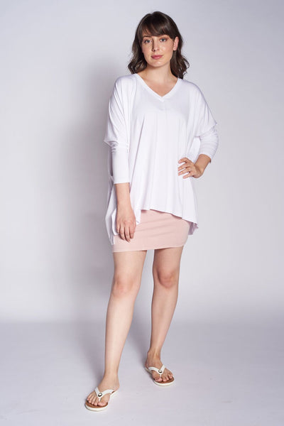 Essential V Neck Tunic #EVS-1024 Bamboo White. M…mboo Blush