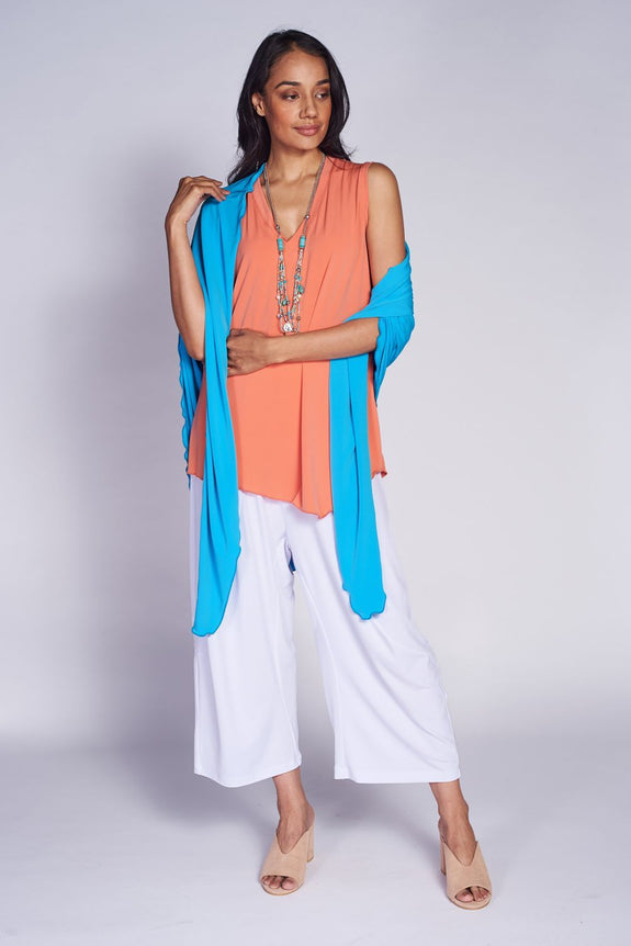 Point Shawl #POI-6018 Aqua. Angled Tank Top #TKA-1003 Coral. Bijou Pant #BIJ-3017 White