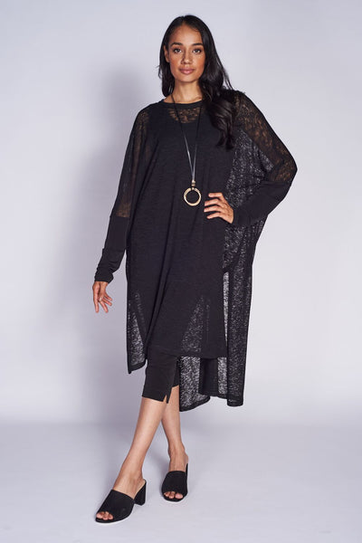 Poncho Dress #TEX-PON-5010 Textured Mesh Knit Black. Lepri Crops LEP-3018 Black - Code Vitesse