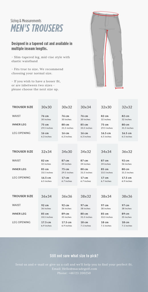 Men's regular trousers size guide