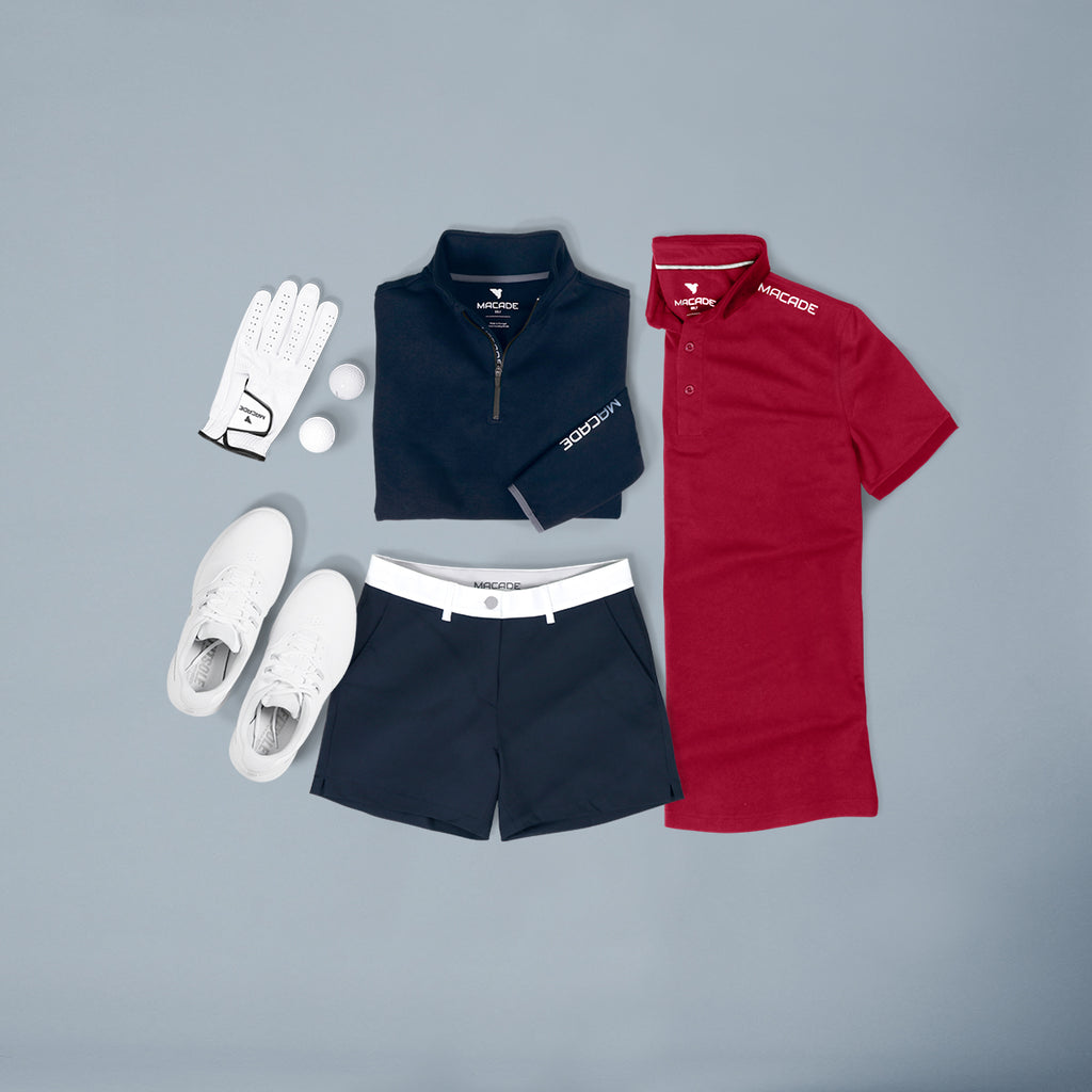 Women red polo & Navy shorts