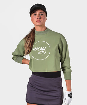 Sage Cropped Mock Neck Sweater