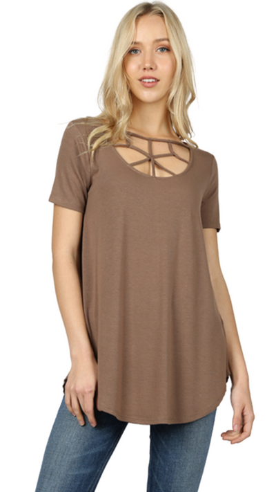 Beyond Basic Mosaic Tee in Mocha