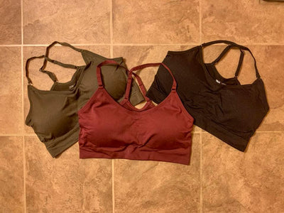 Racerback Sports Bra in Black, Olive, and Burgundy - White Raven Boutique