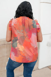 Abstract Floral Lineup Red Blouse