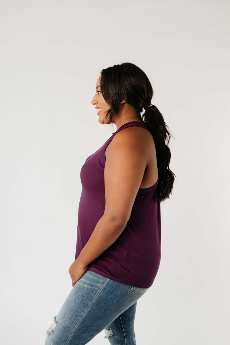 Running Behind Twist Back Tank In Plum