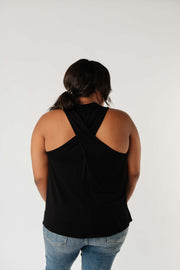 Running Behind Twist Back Tank In Black