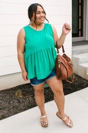 Basic Babydoll Tank In Kelly Green