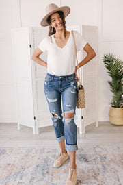 Boyfriend Fit Bodysuit in White