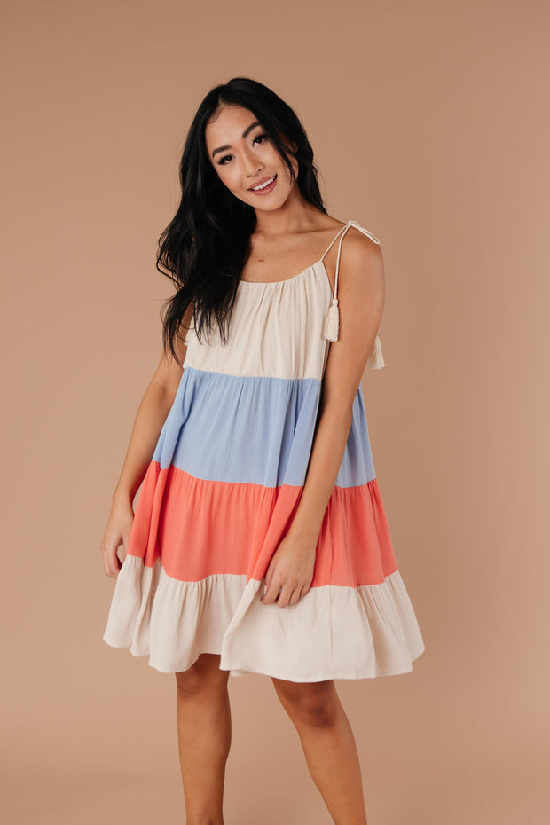 Color Block Ruffles Midi Dress In Coral