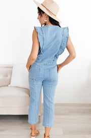 Denim Ruffles Jumpsuit
