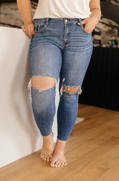Judy Blue Destructive and Destroyed Medium Wash Jeans