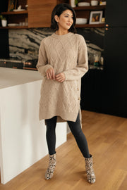 Diamond Details Sweater Dress in Beige
