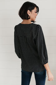Embroidery and Dots Blouse in Black