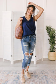 Jenna Basic Tank in Navy