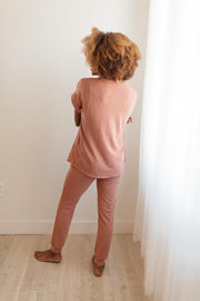 Luxurious Loungewear Top In Terracotta