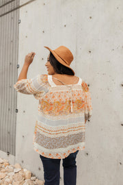 Patchwork Stripes Crochet Trim Top