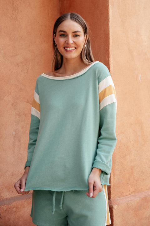 Sporty Stripe Pullover In Mint