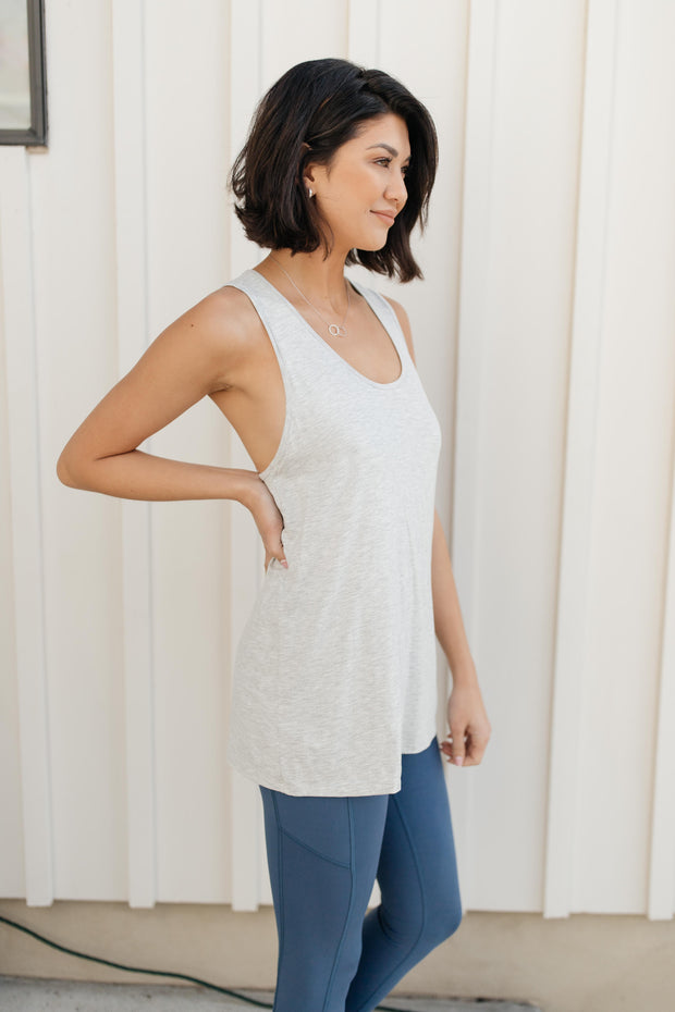 Twisted Back Tank in Heather Gray