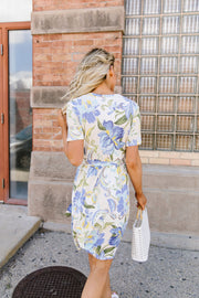 Abstract Iris Print Wrap Dress