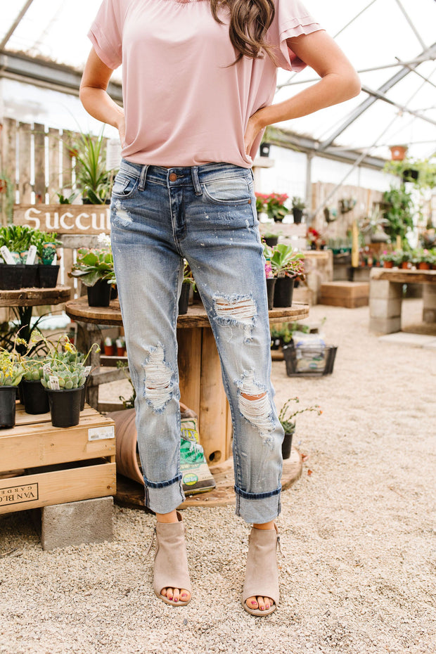 Beach Splash Destroyed Boyfriend Jeans
