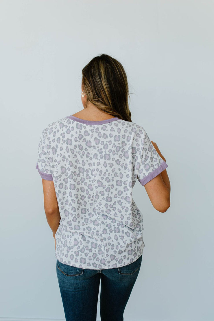Purple Leopard V-Neck