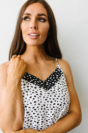 Spotted Contrast Camisole In Ivory